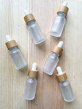 Frosted Glass Bamboo Dropper Bottles - 10ml - 50 Count
