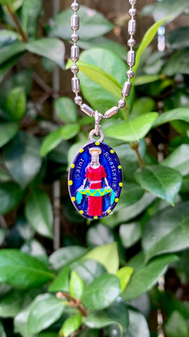 "Anastasia, Hand-Painted Saint Medal, Patron of Weavers, Stylists, ""Fashionistas"""