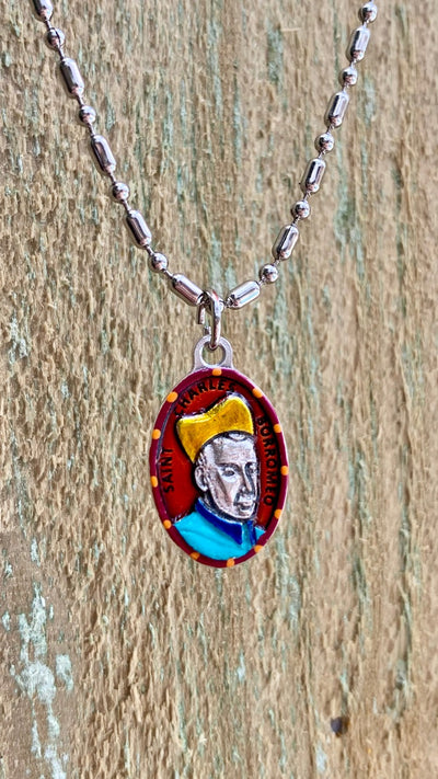Charles Borromeo, Hand-Painted Saint Medal, Invoke Against Stomach Ailments, Nausea