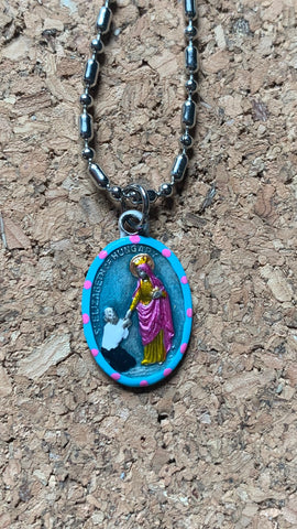Elizabeth of Hungary, Saint Medal #1/Blue, Patron of Bakers, Seamstress, Cooks