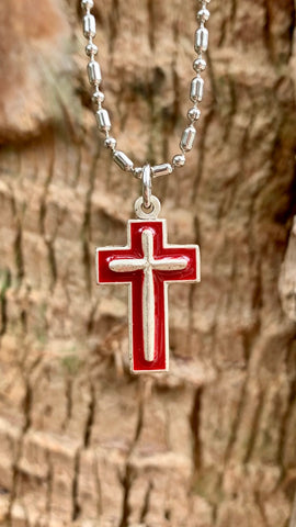 Enameled Silver Cross Necklace, Hand-Painted, Emblem of Christ's Sacrifice for Us