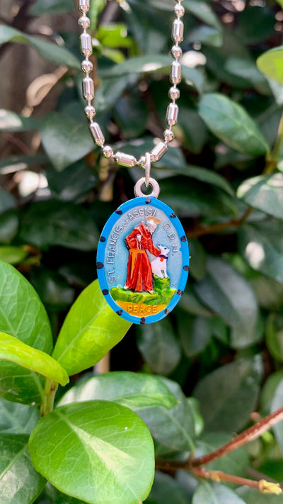 Francis of Assisi, Saint Medal #3, Patron of Peace with Complete Peace Prayer Engraved on back, Patron of Animal Lovers, the Franciscan Order, Ecology, Assisi, and Italy
