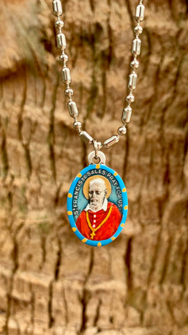 Francis de Sales, Hand-Painted Saint Medal, Patron of Journalists, Writers, Editors