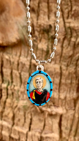 Genesius, Hand-Painted Saint Medal, Patron Saint of Actors, Comedians & Lawyers