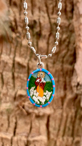 The Good Shepherd, Hand-Painted Medal, Christ's Compassion for His Flock
