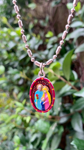Holy Family Medal, Hand-Painted Saint Medal, Patron of Family, Joseph, Ann, Jesus, Mary