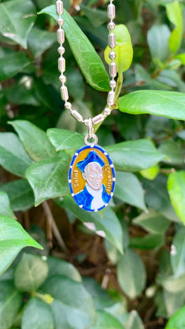Ignatius Loyola, Hand-Painted Saint Medal #2/Blue, Patron Saint of the Jesuits and Learning