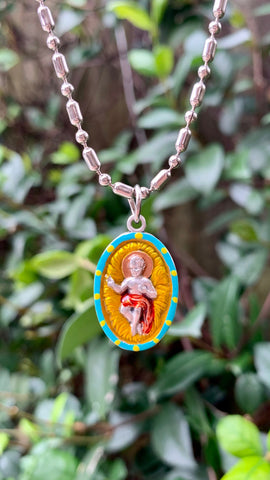 Infant Jesus in the Manger, Hand-Painted Medal, Iconic Emblem of Christmas