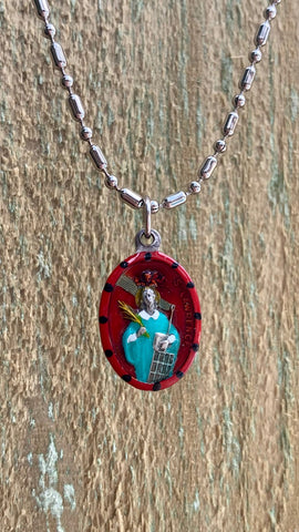 Lawrence, Lorenzo, Hand-Painted Saint Medal #1/Red, Martyr, Patron of Cooks, Chefs, Restaurant Industry