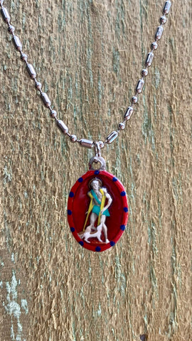 Lazarus, Hand-Painted Saint Medal #2/Red, Patron of Leprosy, Hansen's Disease, Order of Saint Lazarus, HIV, AIDS, Lazarus House, Hospice Care