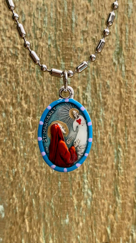 Margaret, Hand-Painted Saint Medal, Patroness of Fertility, Nurses, Health, Safety of Family and Friends