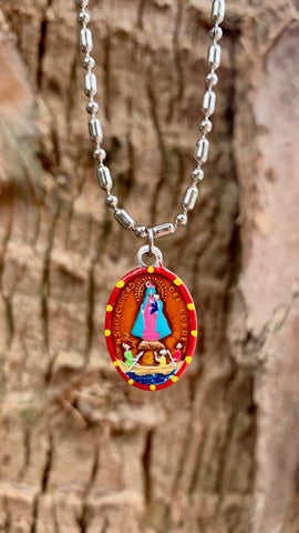 Our Lady of Charity, Hand-Painted Saint Medal, Patron of Cuba, Guidance & Safety