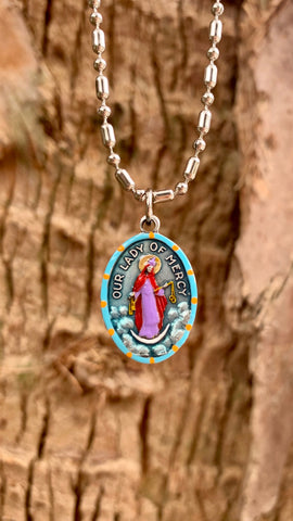 Our Lady of Divine Mercy, Hand-Painted Medal, Saint Faustina, Patron Saint of Divine Mercy, Invoking God's Mercy on all Sinners
