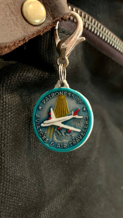 Our Lady of Loreto #2/Round, Hand-Painted Saint Medal, Patron of Airline Safety and Flying