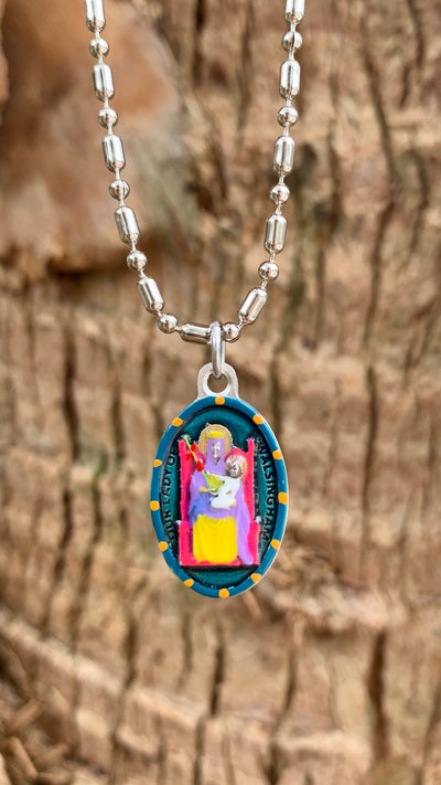 Our Lady Of Walsingham, Hand-Painted Medal, Invoked for Salvation from Storms & Shipwrecks; Provider of Calm Waters and Safe Harbor to those Facing Difficulty