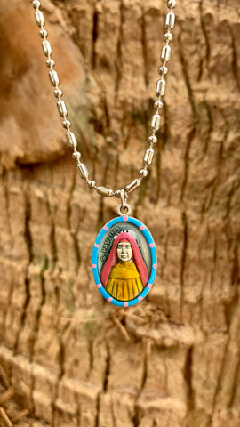 Paulina, Hand-Painted Saint Medal, Patron of the Elderly, Hospice, Diabetes