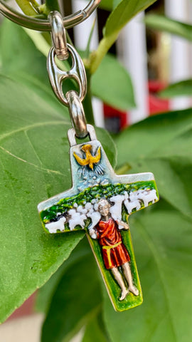 Pectoral Cross of Pope Francis, Hand-Painted, Rosary Cross