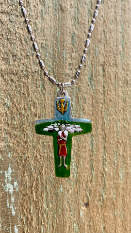 "Pectoral Cross of Pope Francis, Hand-Painted, Patron Saint of Lapsed Catholics, The Pectoral Rosary Cross Representing  ""The Thief in All Of Us"""