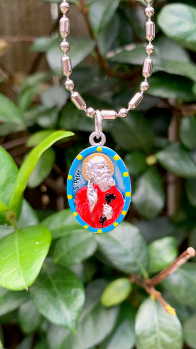 "Peter the Apostle, Hand-Painted Saint Medal, The First Pope, the ""Rock"""