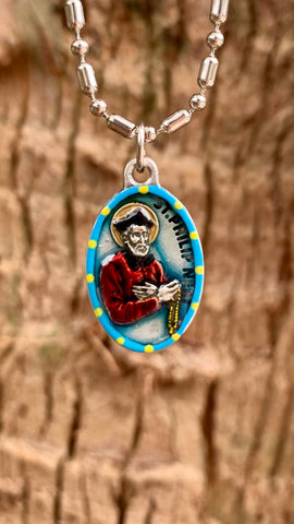 Philip Neri, Hand-Painted Saint Medal, The Apostle of Rome, Patron of Comedians