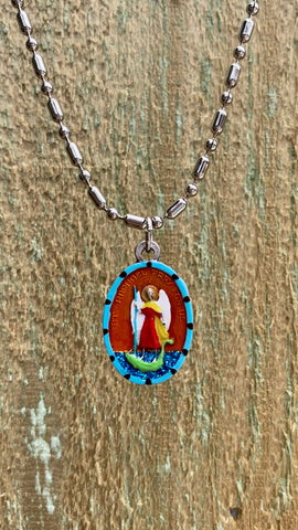 Raphael the Archangel, Hand-Painted Medal, Patron of Love and Healing