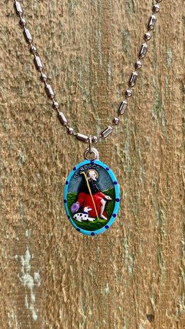 Rocco, Hand-Painted Saint Medal, Patron of Dogs & Dog Lovers