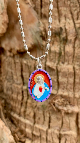 Sacred Heart of Jesus, Hand-Painted Medal, Love, Mercy, Salvation