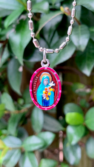 "Therese of Lisieux, Hand-Painted Saint Medal, ""Little Flower,"" Comfort & Tranquility"