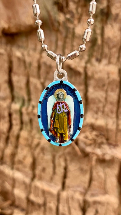 Uriel the Archangel, Hand-Painted Medal, Patron of Arts, Sciences, Poetry, Creativity