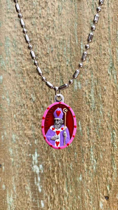 Valentine, Hand-Painted Saint Medal, Patron of Lovers, Happy Couples