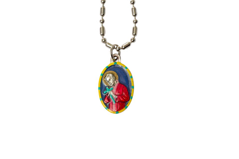 Saint Aloysius Miraculous Medal - Hand-Painted on Italian Silver by Saints for Sinners