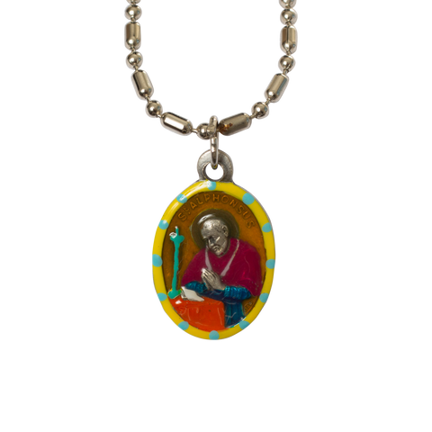 Saint Alphonsus Medal - Hand-Painted on Italian Silver by Saints for Sinners
