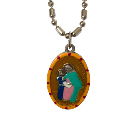 Saint Anna Medal - Hand-Painted on Italian Silver by Saints For Sinners