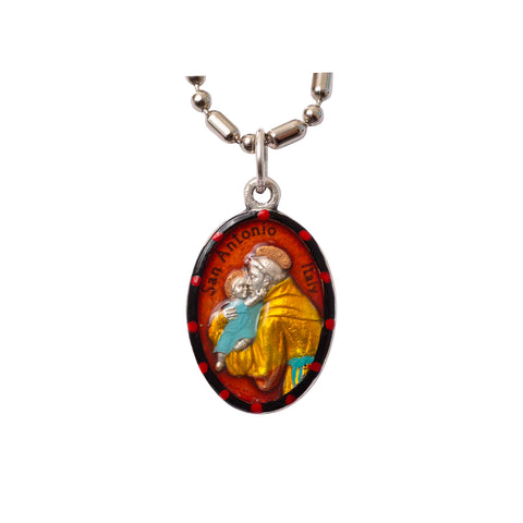 Saint Anthony of Padua Medal - Hand-Painted on Italian Silver by Saints For Sinners