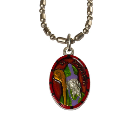 Saint Augustine Medal - Hand-Painted on Italian Silver by Saints For Sinners