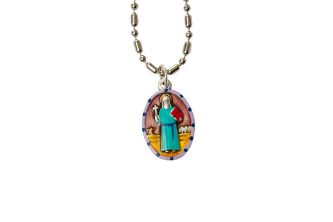 Saint Benedict Medal Necklace - Hand-painted on imported Italian Silver by Saints For Sinners