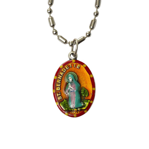 Saint Bernadette Medal - Hand-Painted on Italian Silver by Saints for Sinners