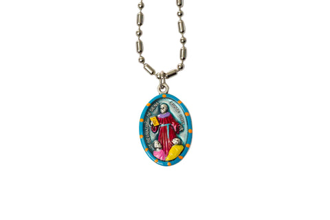 Saint Bernadine of Siena Miraculous Medal - Hand-Painted on Italian Silver by Saints for Sinners
