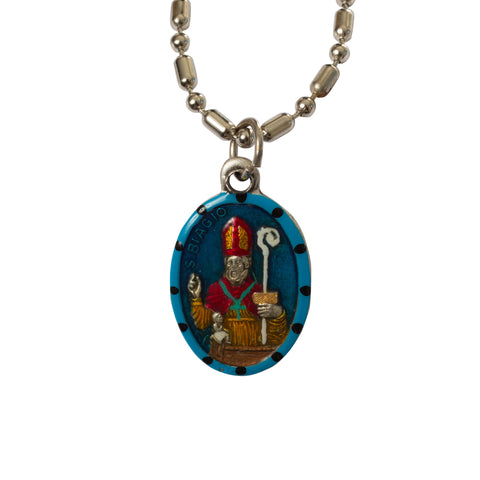Saint Blaise Medal Necklace - Hand-painted on Italian Silver by Saints For Sinners