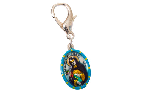 Saint Catherine of Siena Miraculous Medal - Hand-Painted on Italian Silver by Saints For Sinners