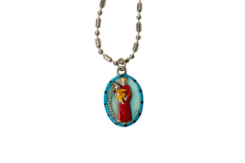 Saint Cayetano Miraculous Medal - Hand-Painted on Italian Silver by Saints For Sinners