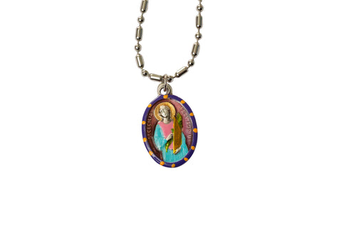 Saint Cecilia Miraculous Medal - Hand-Painted on Italian Silver by Saints For Sinners