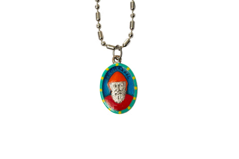 Saint Charbel Miraculous Medal - Hand-Painted on Italian Silver by Saints For Sinners