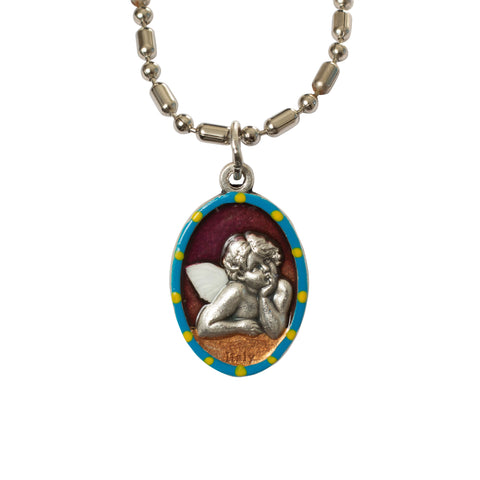 Guardian Angel Cherub Medal - Hand-Painted on imported Italian Silver by Saints For Sinners
