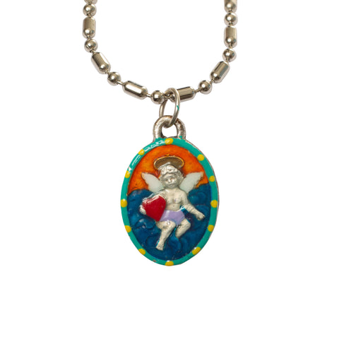Cupid Miraculous Medal - Hand-Painted on Italian Silver by Saints For Sinners