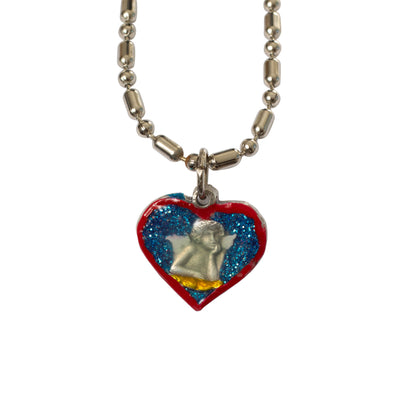Cherub Guardian Angel Heart-Shaped Medal