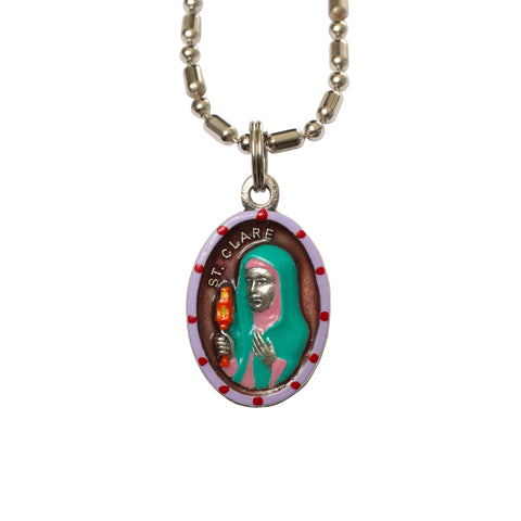 Saint Clare of Assisi Medal Necklace - Hand-painted on Italian Silver by Saints For Sinners