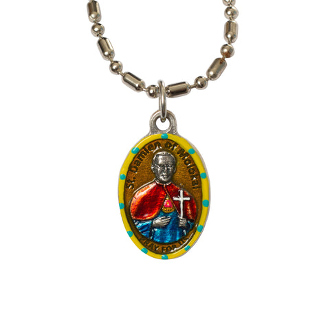 Saint Damien of Molokai Medal Necklace - Hand-painted on Italian Silver by Saints For Sinners