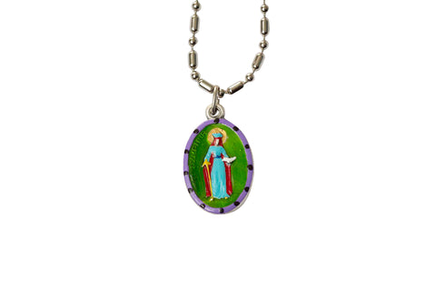 Saint Dymphna Miraculous Medal - Hand-Painted on Italian Silver by Saints For Sinners