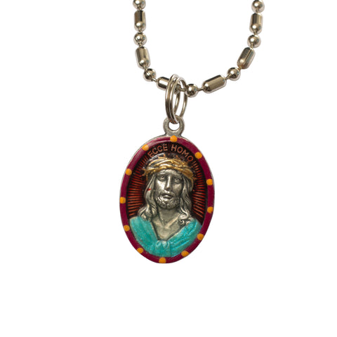 Ecce Homo Suffering Jesus Miraculous Medal - Hand-Painted on Italian Silver by Saints for Sinners
